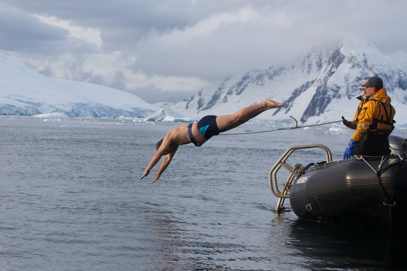 The Polar Plunge is a rite of passage many passengers take part in on Quark's small ship expeditions to the polar regions!