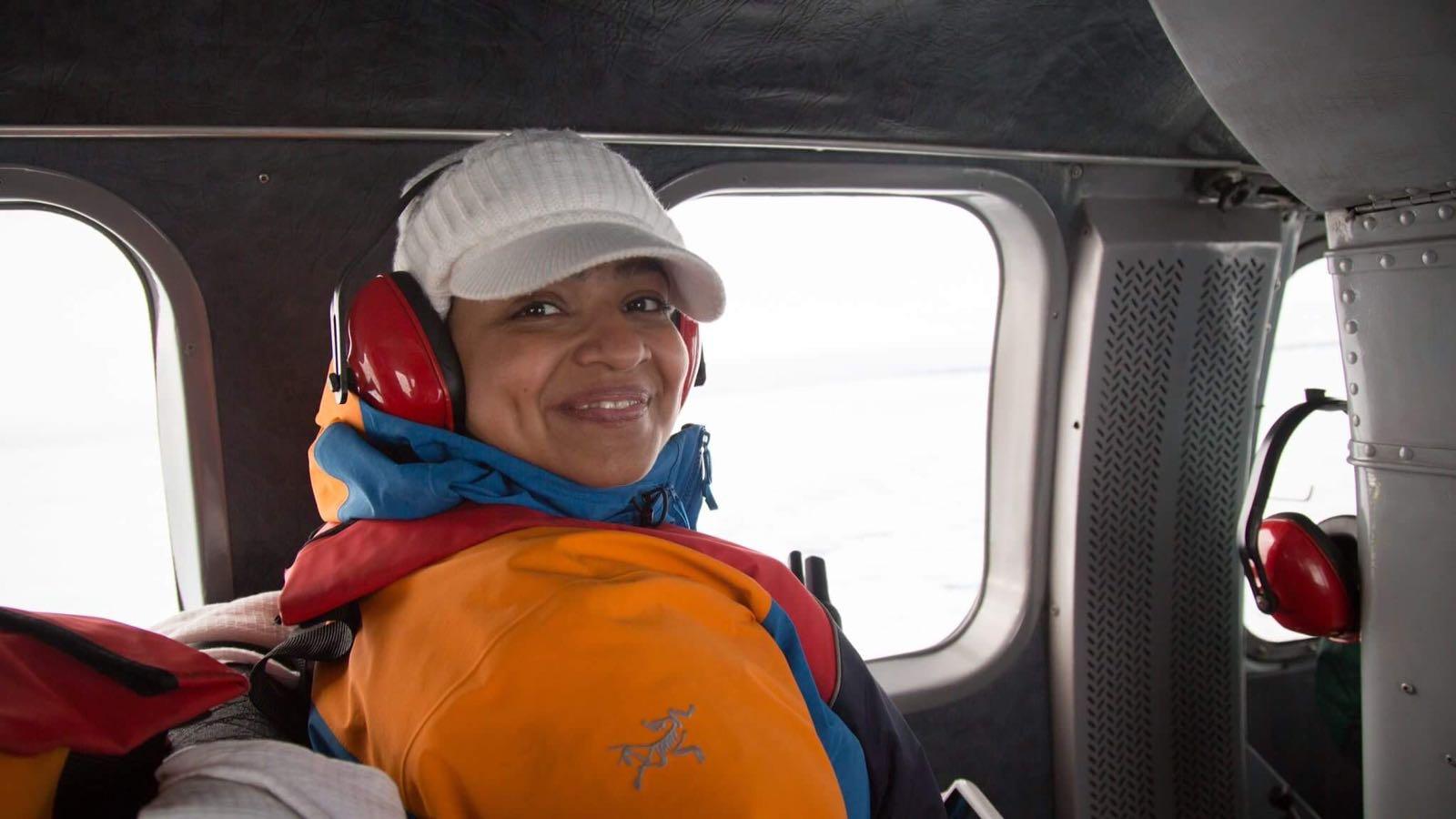 Raakhe Kapila enjoys a comfortable charter flight en route to her Greenland adventure.