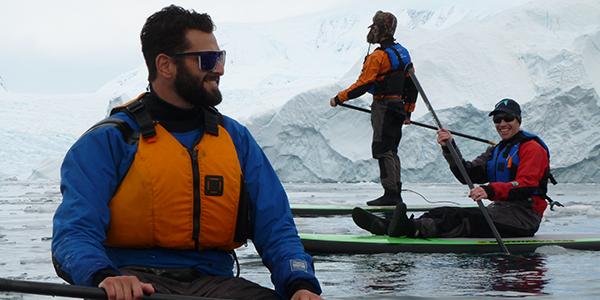 Standup paddleboarding in Antarctica.