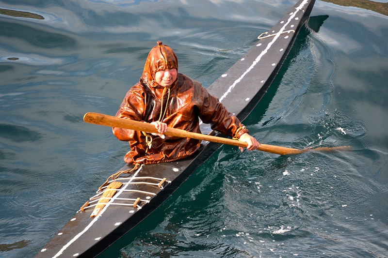A traditional kayaking demonstration in Sisimiut, Greenland.