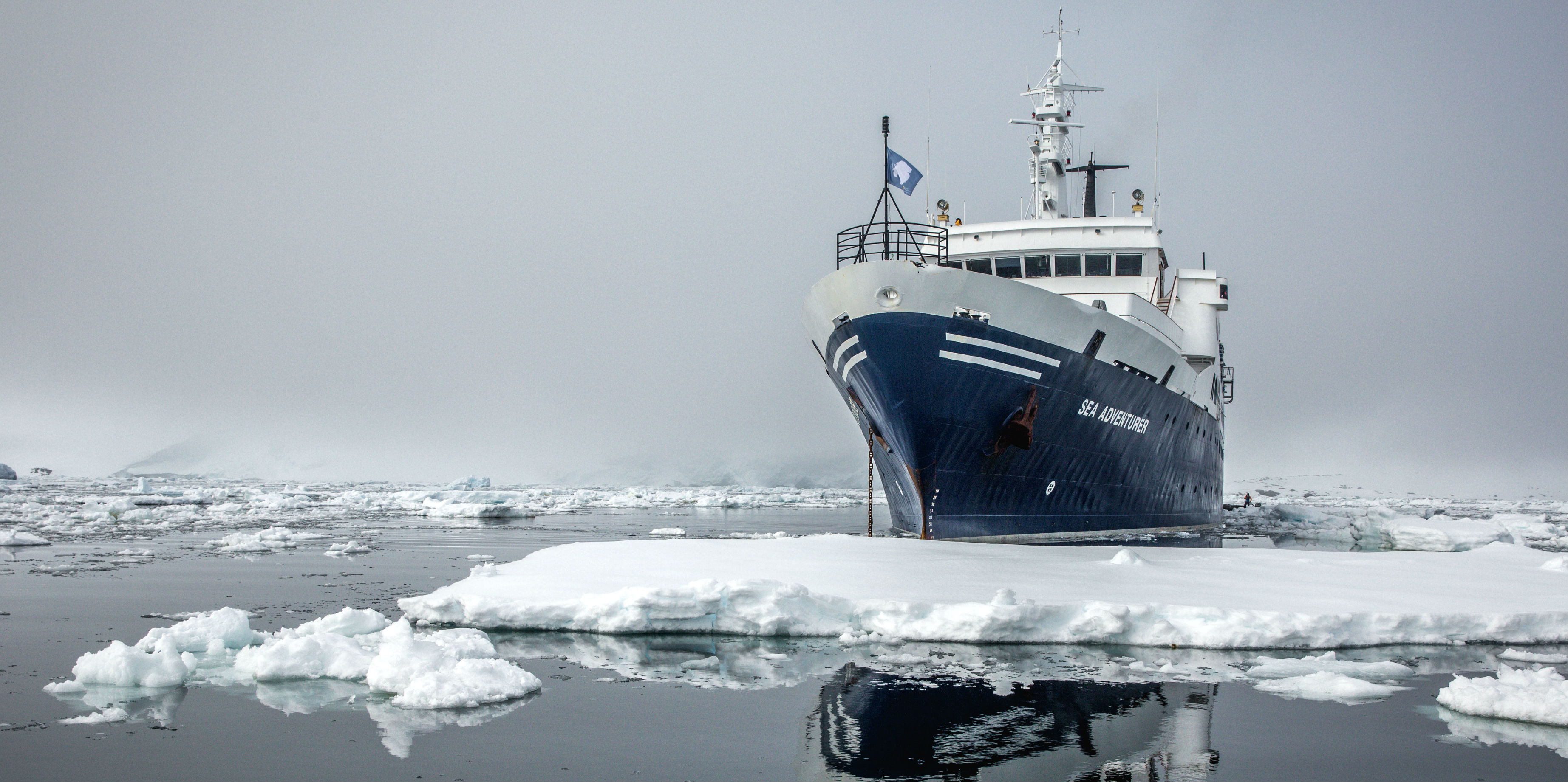 The Sea Adventurer in ice-choked Antarctic waters.