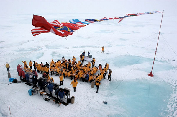 Quark Expeditions passengers dine at the North Pole