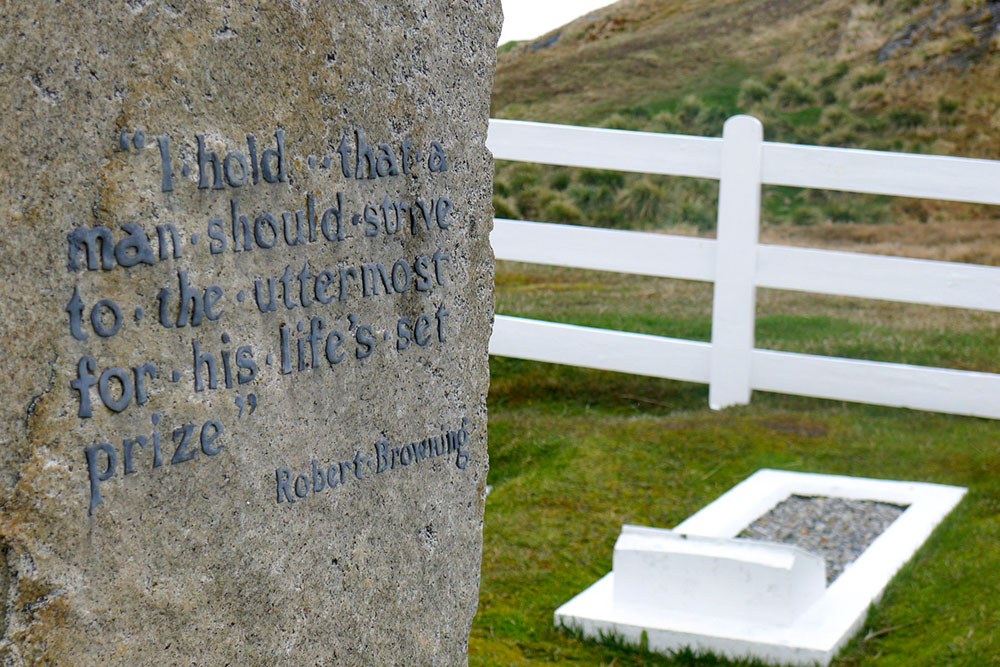 Poetry on Shackleton's grave in Grytviken Photo by Wayne Purcell