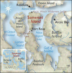 Arctic Watch Wilderness Lodge, Quark's first land-based expedition, is located on Somerset Island in the Canadian High Arctic.