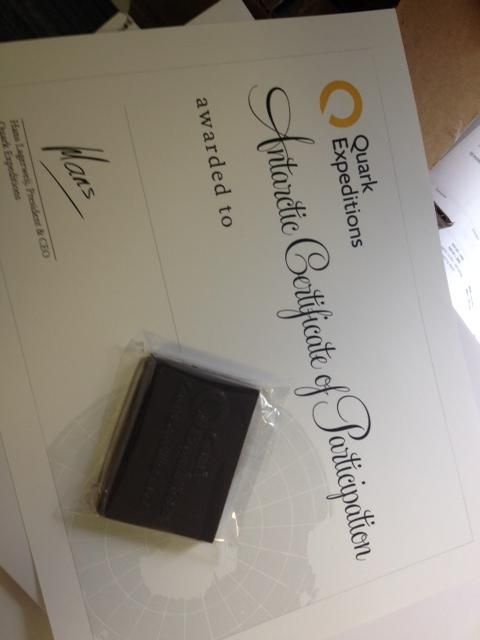 Official Quark Expeditions gift certificate and chocolate