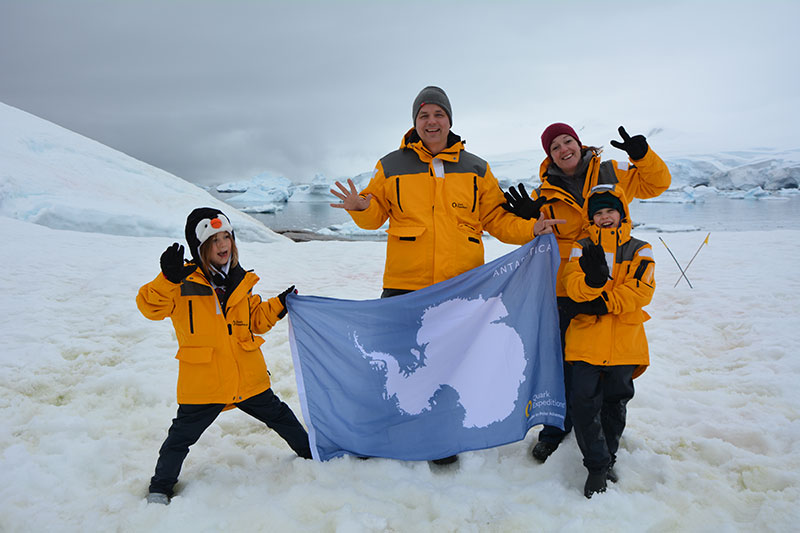 Aimme and Kevin with their parents in Antarctica!