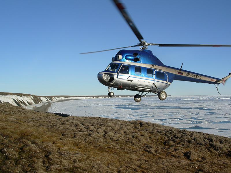 A Helicopter landing on Belkovsky Island