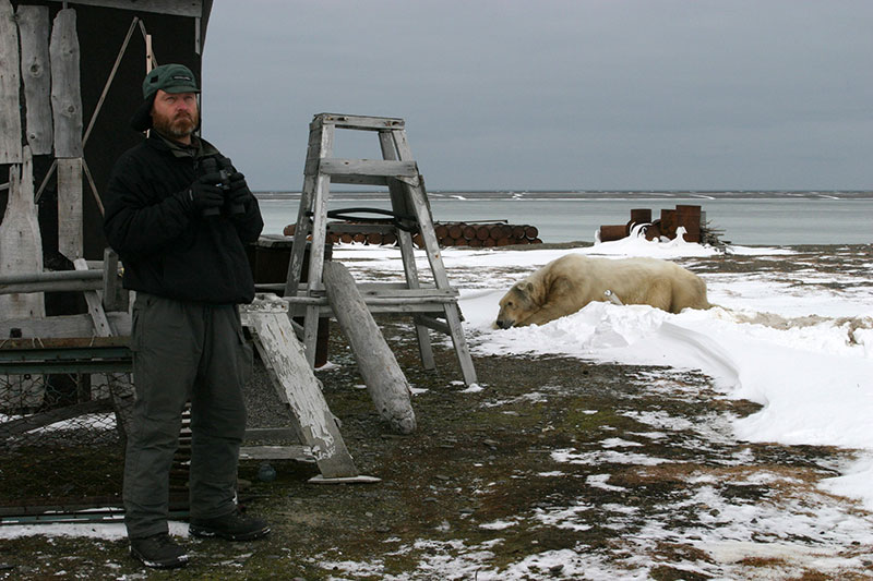 Dr. Nikita Ovsyanikov lived in remote cabins in the middle of high polar bear concentrations.