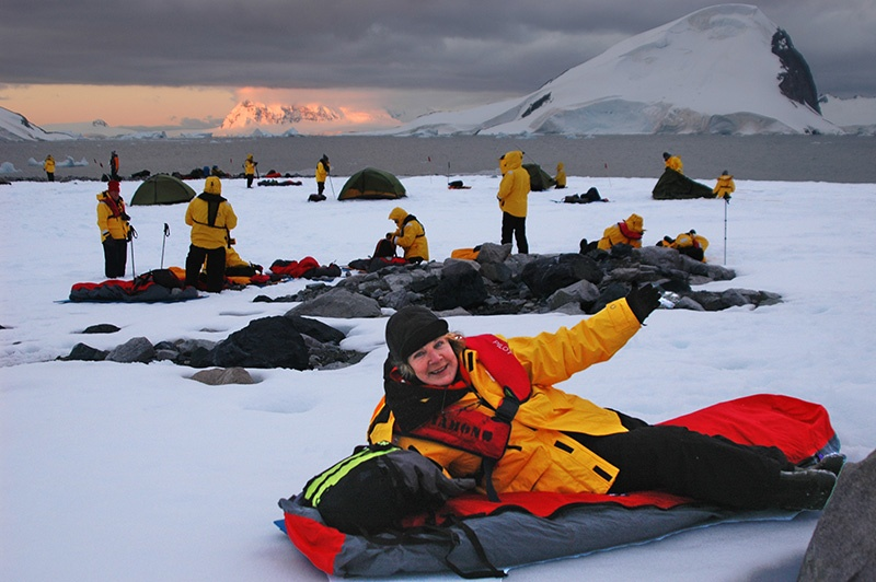 Quark Expeditions passengers camping in Antarctica