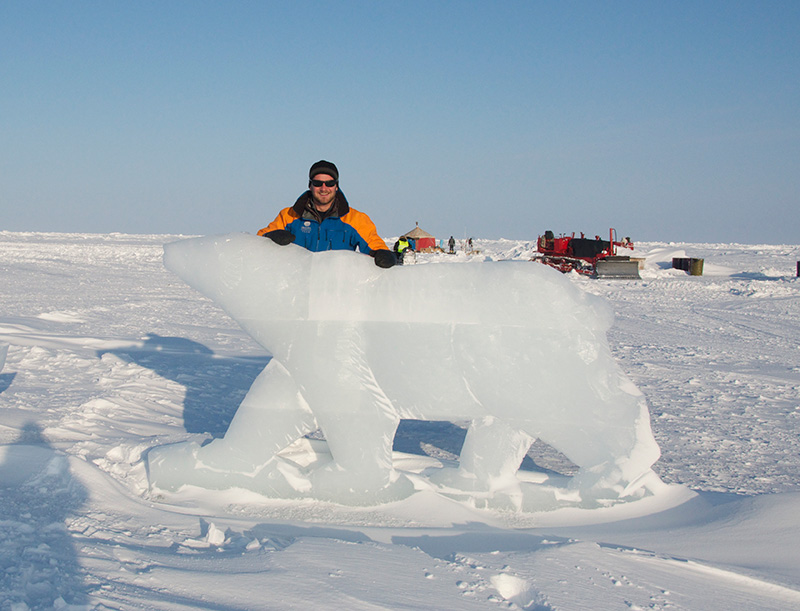 Jake and a polar bear made of ice