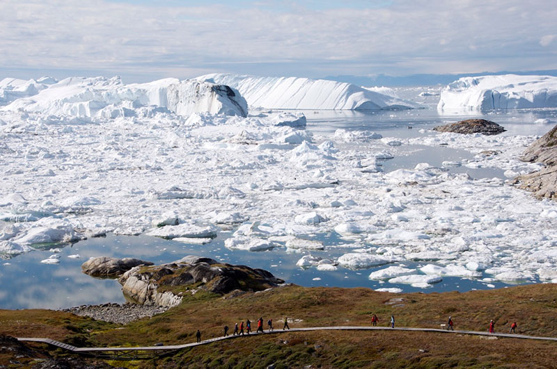 Hiking  is a fantastic way to experience Greenland's Windswept landscapes, archaeological sites and massive fjords. This photo: Ilulissat