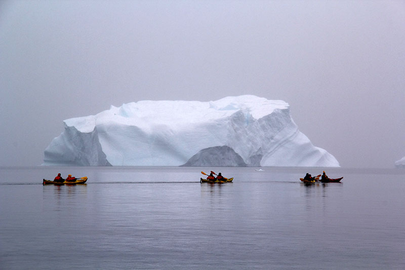 Quark passengers kayaking in Greenland