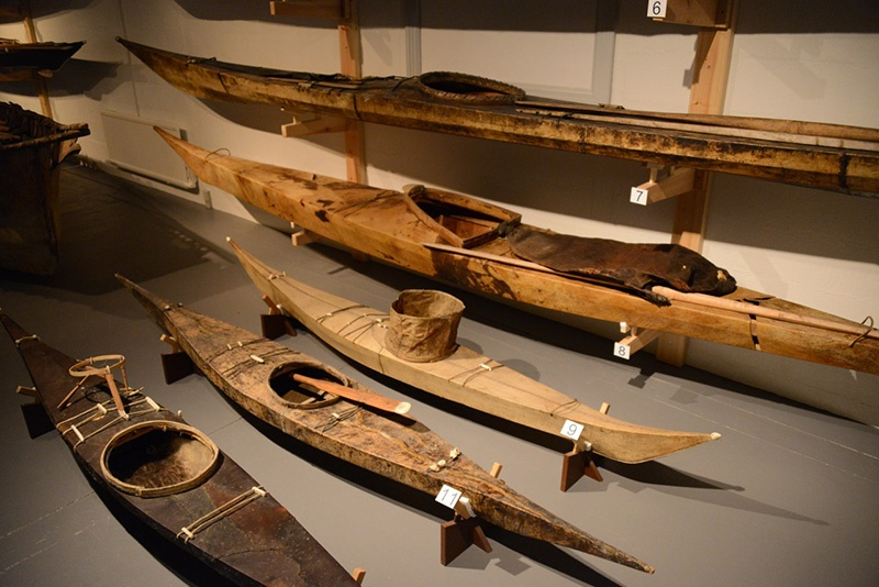 Greenland kayak artifacts in a museum in Nuuk