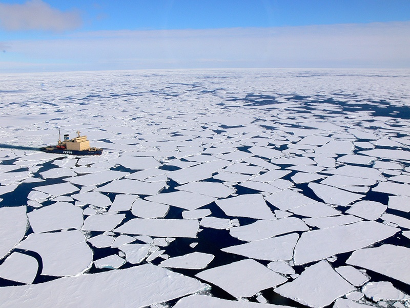 The Kapitan Khlebnikov icebreaker powers through multi-year sea ice in the Arctic.