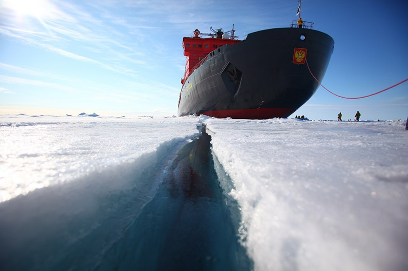 "50 Years Of Victory, anchored at the North Pole. Photo credit: 'Song"", North Pole voyage 2011"