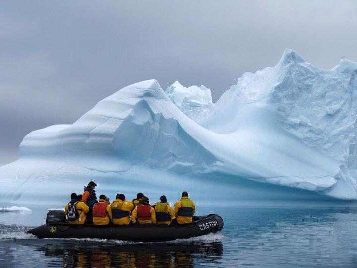 Quark passengers in a zodiac, Antarctica