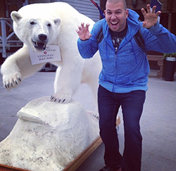 Paul and a ferocious polar bear statue