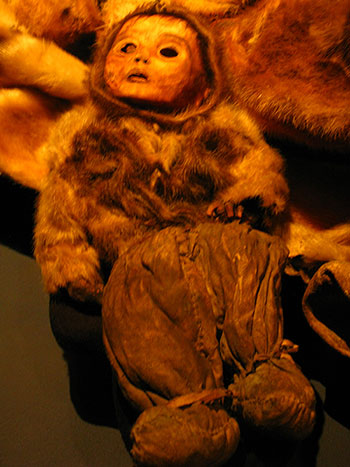 Mummies on display in the Greenland National Museum