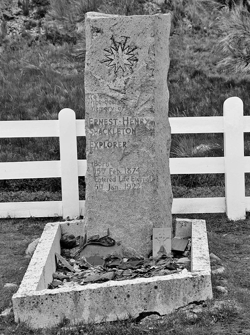 Ernest Shackleton's grave in Grytviken, South Georgia