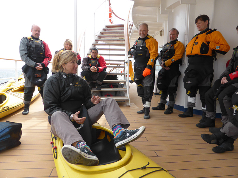 Kayak Briefing with Valerie on deck