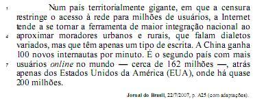 (l4) moradores urbanos e rurais, (l5) mas que têm apenas...