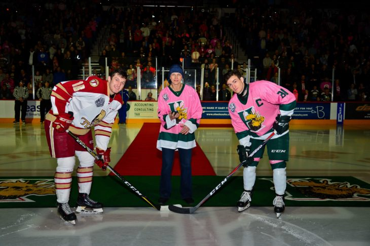 Pink in the Rink puck drop