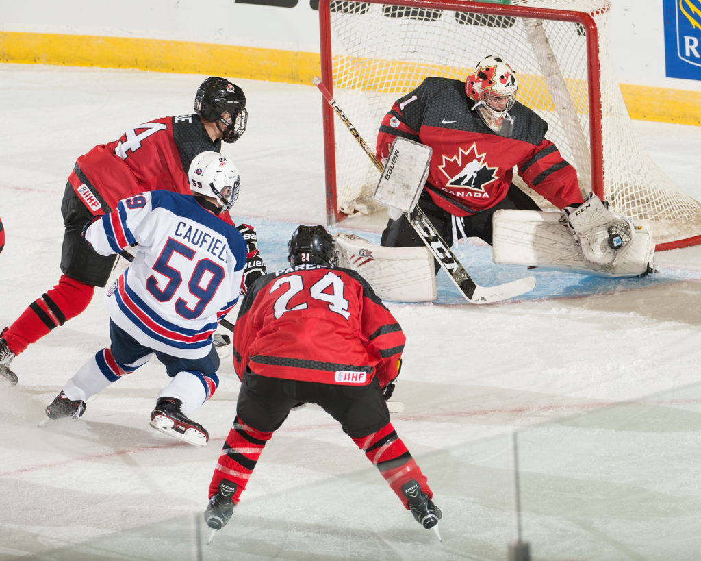 Dawson Creek, BC - Nov 2 2017 - Exhibition - Canada Red vs USA during the 2017 World Under-17 Hockey Challenge at the Encana Event Centre in Dawson Creek, British Columbia, Canada (Photo: Matthew Murnaghan/Hockey Canada Images)