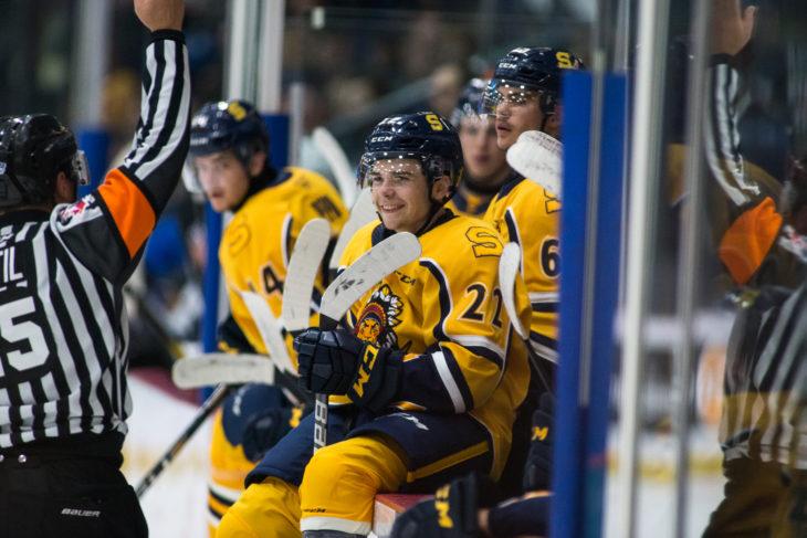 Photo: Olivier Croteau 2019/10/25 Shawinigan, Quebec Canada. Hockey LHJMQ. Les Cataractes de Shawinigan recoivent l'Oceanic de Rimouski au Centre Gervais Auto. Mavrik Bourque no22,