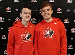 Poirier and fellow Sea Dog Charlie DesRoches during last year's World U-17 Hockey Challenge