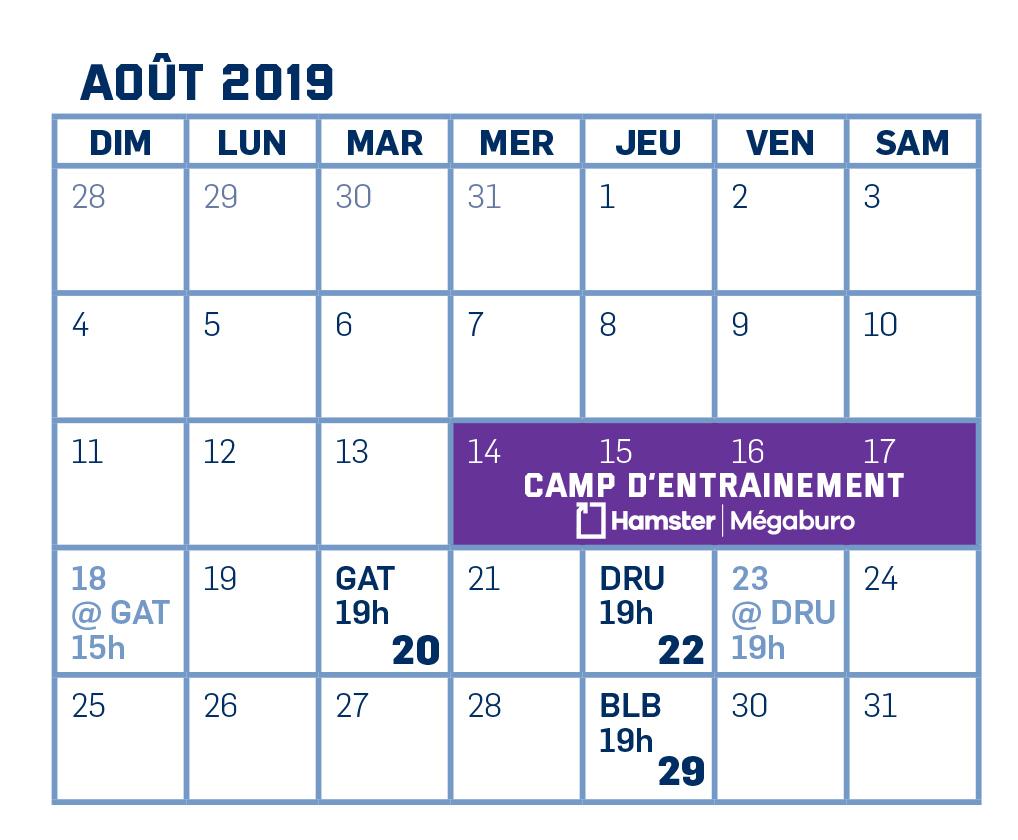 Calendrier Septembre 2020 Aout 2019.Calendrier 2019 2020 Sherbrooke Phoenix