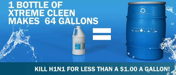 1 gallon of concentrated Xtreme Cleen disinfectant cleaner makes up to 64 gallons!