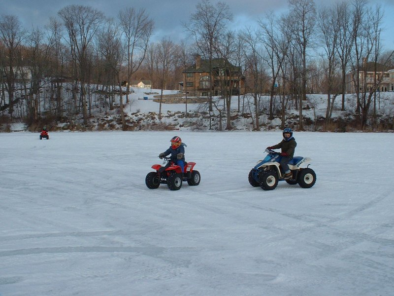 Kids on the Ice with their ATVs