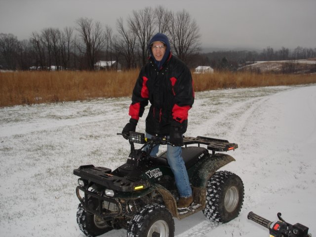 Lester on ETON- 150 ATV at the PA Farm