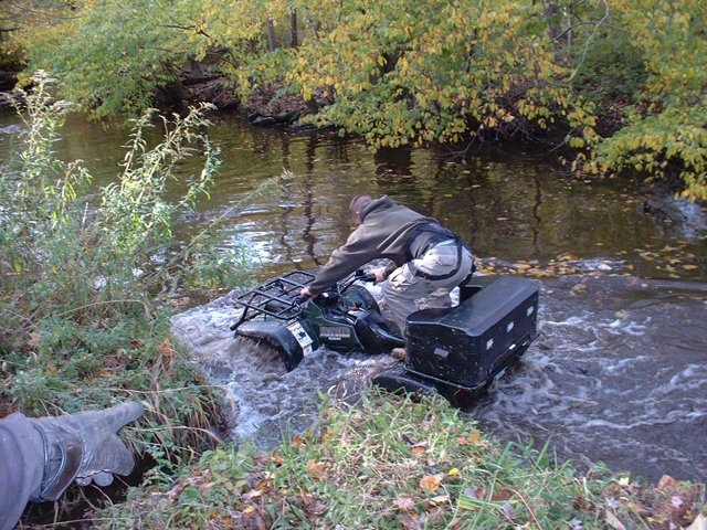 Quadzilla going through water