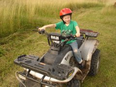 Spencer on 1st ATV Ride at Farm