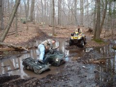 2 Honda ATVs in the Mud Pit