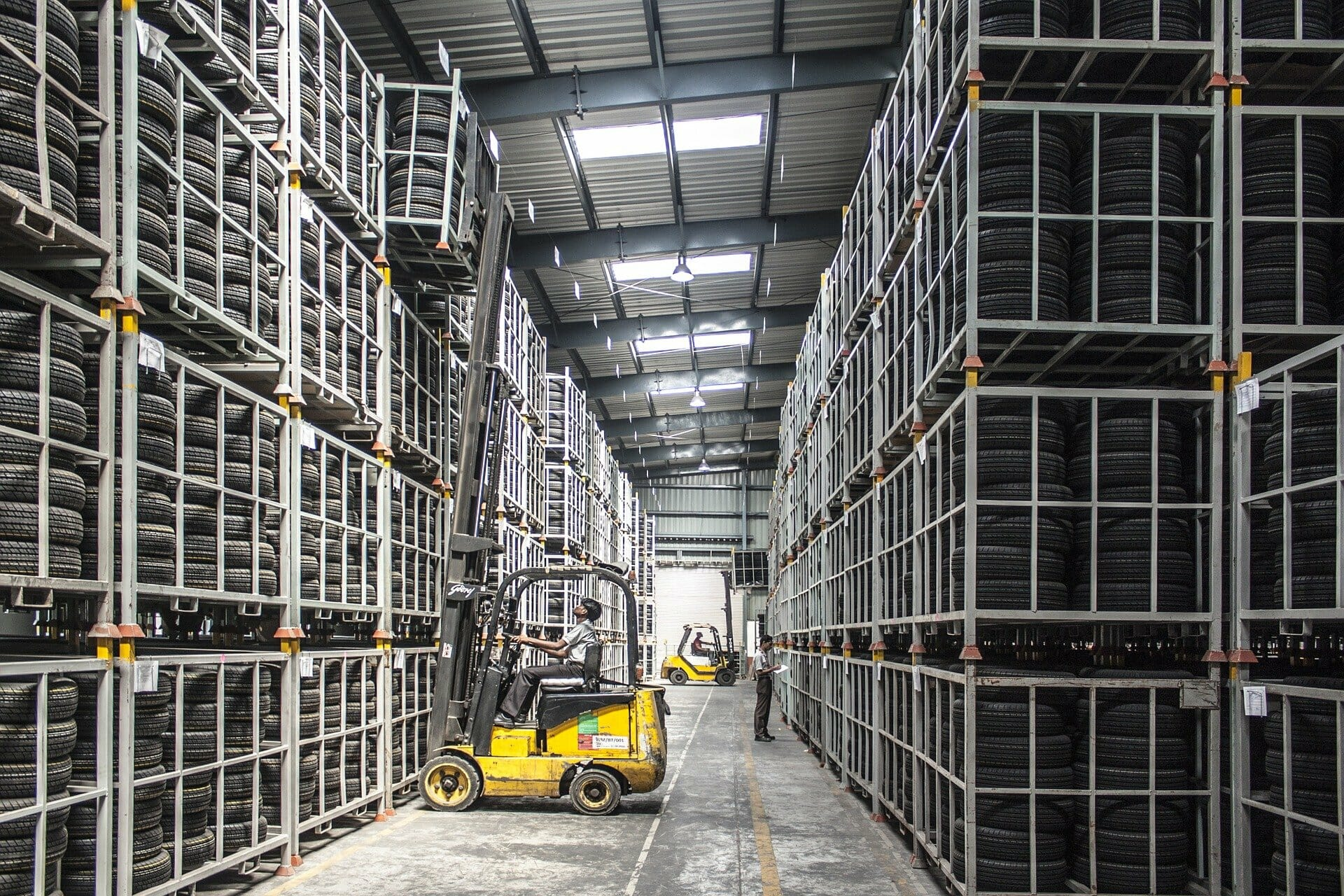 Forklift in a Tire Storage Facility