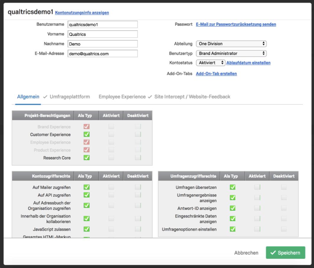 Benutzer-, Gruppen- und Abteilungsberechtigungen - Qualtrics