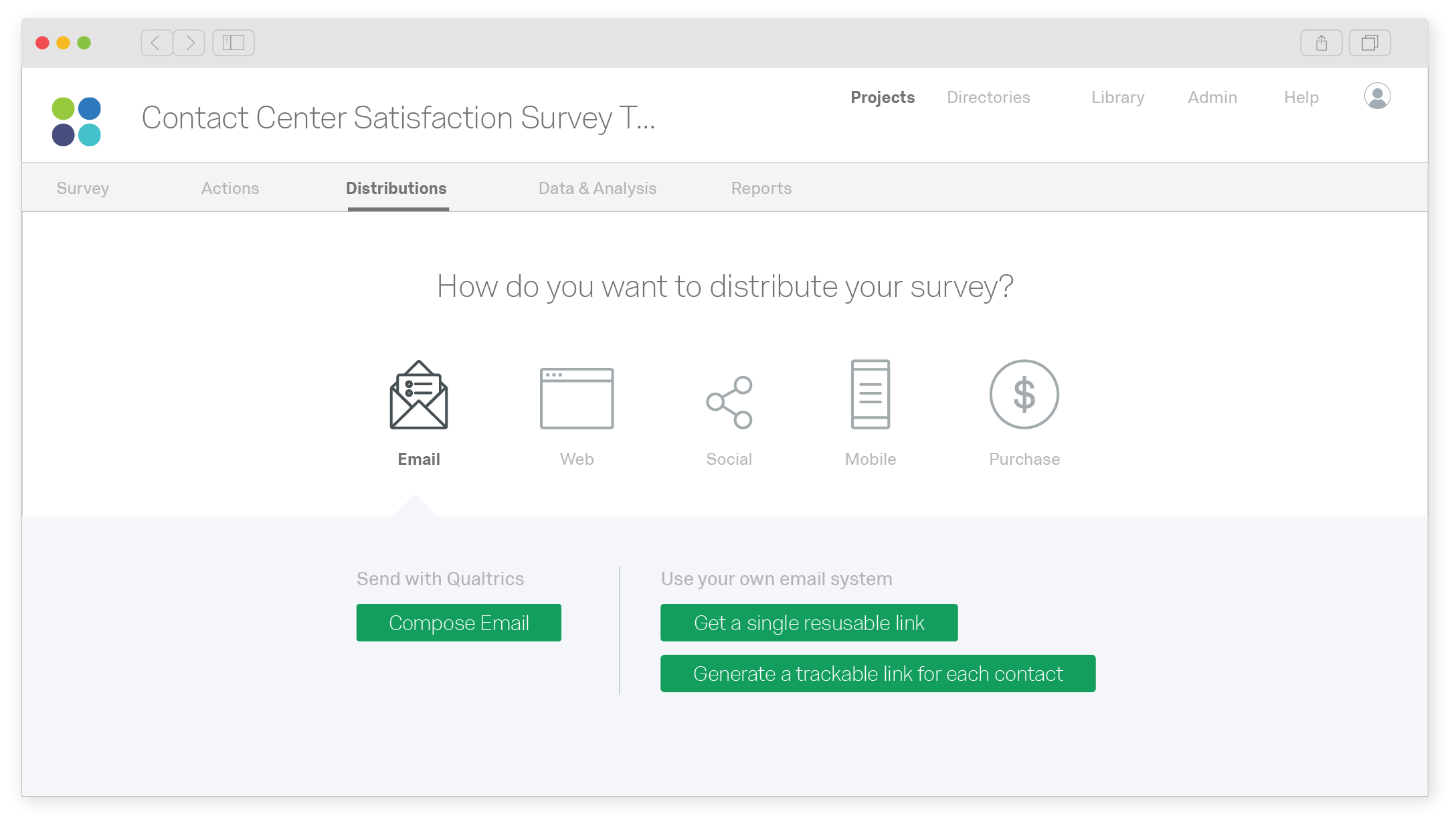 Qualtrics customer satisfaction survey project screen