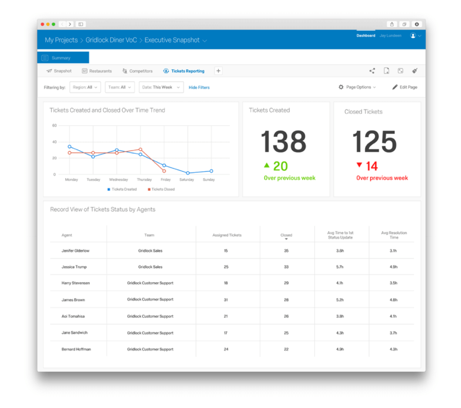 Qualtrics Customer Feedback Ticketing dashboard