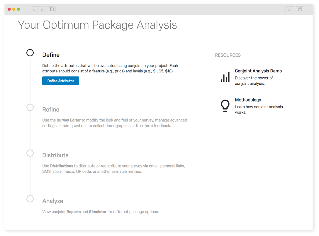 Qualtrics conjoint analysis project setup