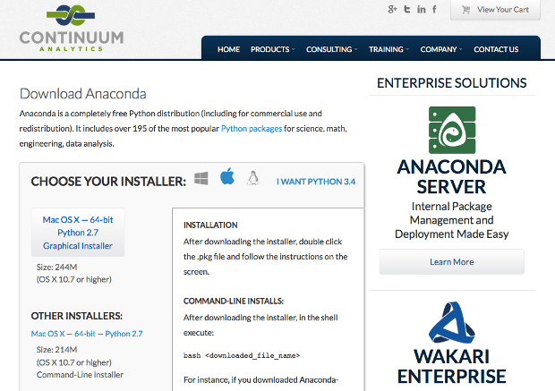Continuum Analytics Anaconda downloads page
