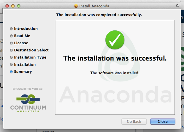 Anaconda installation finalised