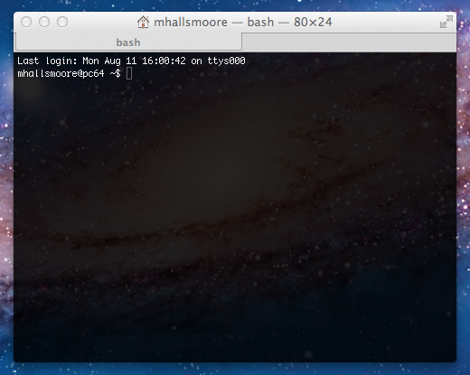 Terminal window in Mac OSX