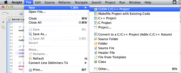 New project on File menu