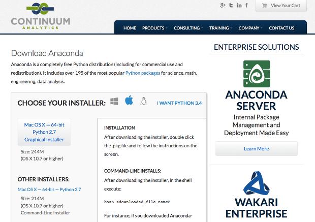 Continuum Analytics Anaconda downloads page