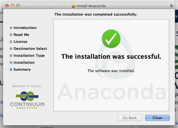 Anaconda installation finalised