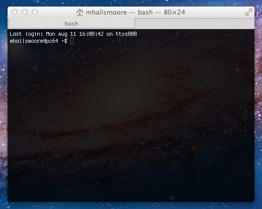 Terminal window in Mac OSX