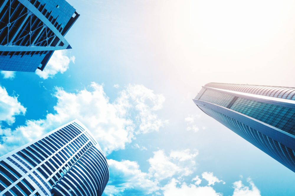 Buildings in the clouds to represent benefits of cloud based technology