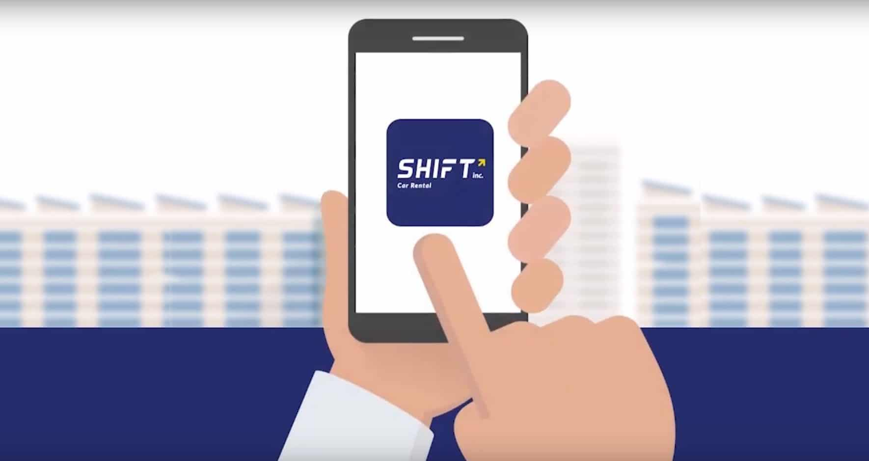 A graphic of someone using the Shift app